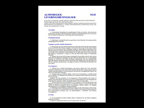 Leveringsbetingelser NL92 - dansk version