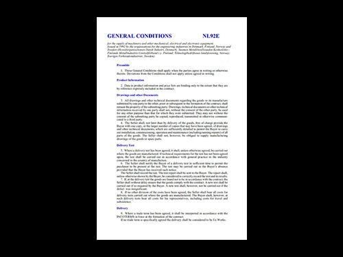 Leveringsbetingelser NL92 - engelsk version